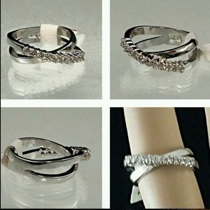 Silver Tone Cocktail Ring CZ Size 5